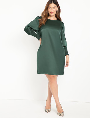 ELOQUII Elements Bishop Sleeve Easy Dress