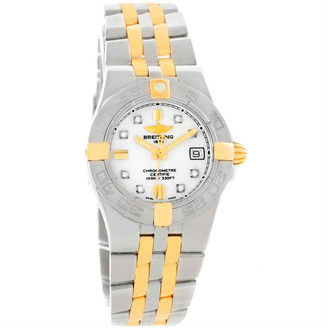 Breitling 18K Yellow Gold White Stainless Steel and Diamond Galactic B71340 Women's Wristwatch 30MM