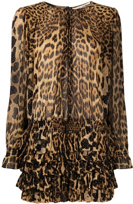 Saint Laurent Leopard Print Ruffled Dress