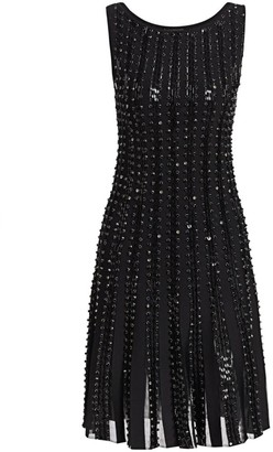 Zac Posen Embroidered Radiant Stripe Knit A-Line Dress