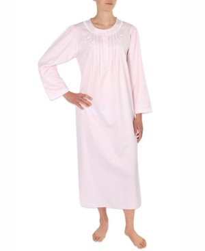 Miss Elaine Embroidered Brushed-Back Long Satin Nightgown