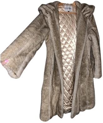 Balmain Camel Faux fur Coat for Women Vintage