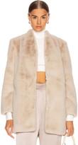 Mason by Michelle Mason Faux Fur Car Coat in Oyster | FWRD