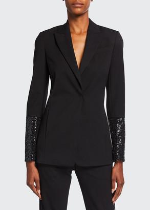 Brunello Cucinelli Sequined-Sleeve Jacket w/ Monili Collar Trim
