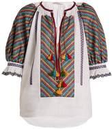 VITA KIN Bulgaria embroidered mid-weight linen blouse