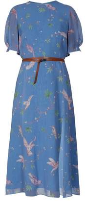 Altuzarra Gormann Bird-print Silk-chiffon Midi Dress - Womens - Light Blue