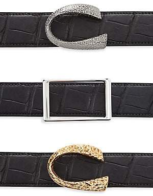 Corthay Men's Patent Crocodile, Python, French Calf, Suede and Patent leather Belt Strap