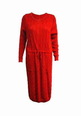 HF H&F Women's Ladies Chunky Cable Knitted Long Sleeves Belted Waist Pocket Tie Up Maxi Dress Warm Winter Wear Jumper Soft & Comfortable Dress Size 8-10 12-14 Red