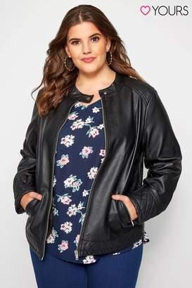 Womens Yours Curve Faux Leather Centre Biker Jacket - Black