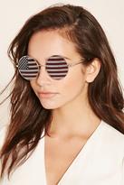 Forever 21 FOREVER 21+ American Flag Round Sunglasses
