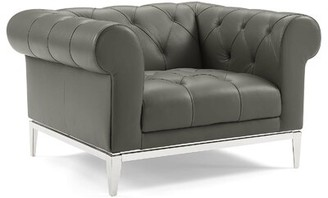 """Modway Idyll 45.5"""" W Tufted Leather Match Chesterfield Chair"""
