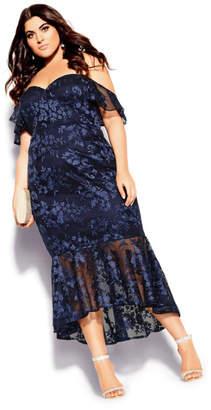 City Chic Lace Aflutter Dress - navy