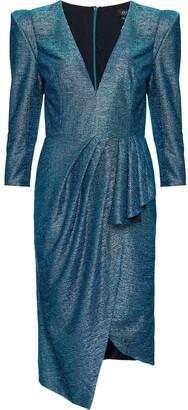 PatBO Metallic Fitted Midi Dress