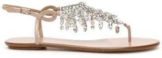 Aquazzura Temptation Crystal Flat Sandals
