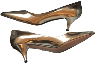 Prada Gold Leather Heels
