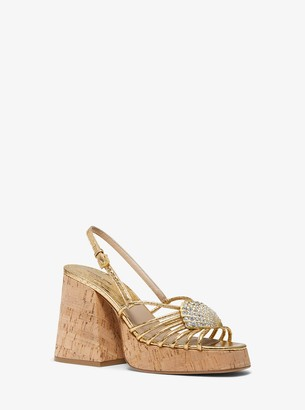 Michael Kors Buffy Embellished Metallic Snakeskin Sandal