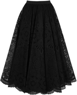 RED Valentino Black floral lace midi skirt
