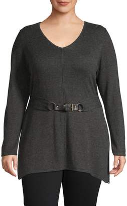 INC International Concepts Plus Belted V-Neck Tunic