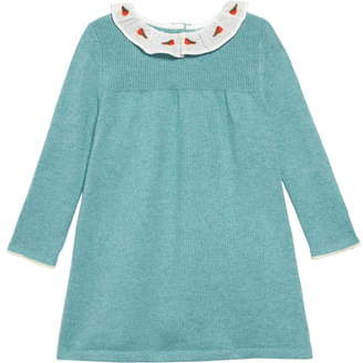 Boden Mini Robin Embroidered Collar Long Sleeve Sweater Dress