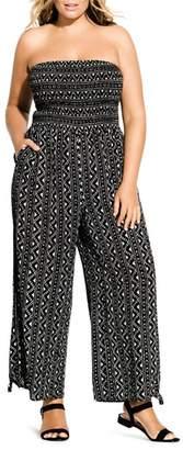 City Chic Plus Strapless Printed Jumpsuit