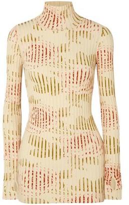 Paco Rabanne Floral-print Ribbed Cotton-blend Turtleneck Top