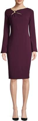 Calvin Klein Asymmetrical Neck Long-Sleeve Sheath Dress