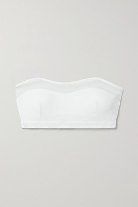 Skin Orly Tulle-trimmed Stretch Organic Pima Cotton-jersey Bandeau Bra - White