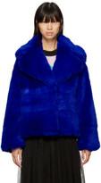 MSGM Blue Short Faux Fur Jacket