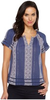 Lucky Brand Lurex Peasant Top Women's Short Sleeve Pullover