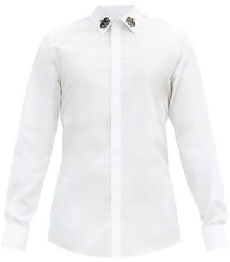 Dolce & Gabbana Crown-applique Cotton-blend Shirt - Mens - White