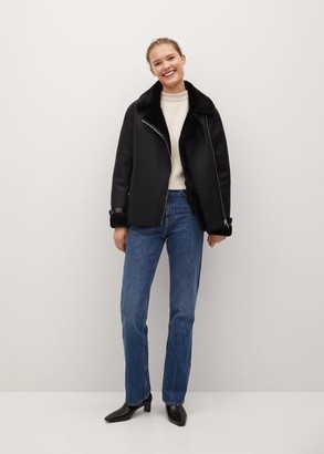 MANGO Faux-fur lining biker jacket black - XS - Women