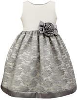 Jayne Copeland Ivory & Gray Lace Glitter Dress - Toddler & Girls