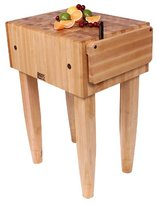 John Boos PCA2-C-BK Maple Wood End Grain Solid Butcher Block with Side Knife Slot, 24 Inches x 18 Inches x 10 Inch Top, 34 Inches Tall, Black Legs with Casters