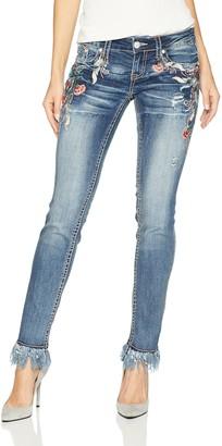 Grace in LA Women's Boho Embroidered Skinny Jeans Pants