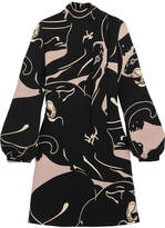 Valentino Panther Printed Silk-cady Mini Dress - Black