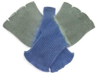 The Elder Statesman Stripe Dye Fingerless Cashmere Gloves - Womens - Green Multi