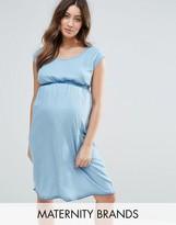 Mama Licious Mama.licious Mamalicious Short Sleeve Denim Dress