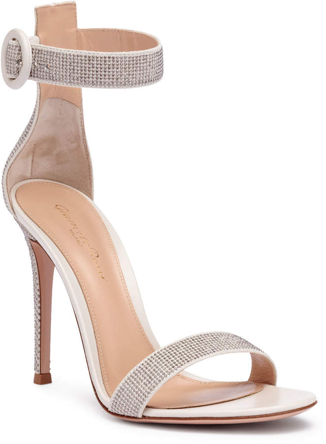 Gianvito Rossi Lennox 105 silver studded sandals