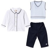 Emile et Rose 3 Piece Shirt, Navy Trouser and Blue Knit Vest Set
