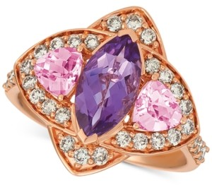 LeVian Le Vian Multi-Gemstone (1-9/10 ct. t.w.) & Nude Diamond (5/8 ct. t.w.) Ring in 14k Rose Gold
