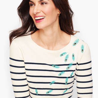 Talbots Embroidered Feathers Stripe Sweater