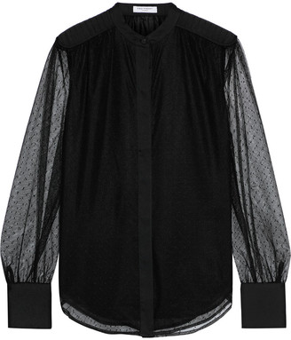 Equipment Garion Satin-trimmed Gathered Point D'esprit Blouse