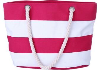 Leisial Women Lady Canvas Handbag Stripe Design Beach Shoulder Bag Environmental Protection DIY Bag for Shopping or School Bag(Black)