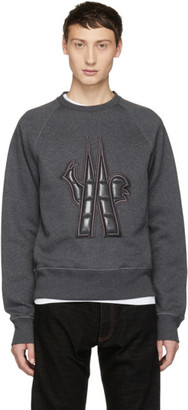 MONCLER GRENOBLE Grey Quilted Maglia Sweatshirt