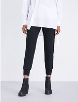 Izzue Velour-trimmed cotton-blend jogging bottoms