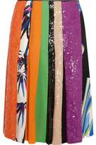 Emilio Pucci Sequin-Embellished Printed Silk Skirt