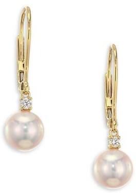 Mikimoto 7MM White Cultured Akoya Pearl, Diamond & 18K Yellow Gold Leverback Earrings