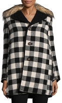 RED Valentino Plaid Faux Fur Trimmed Coat