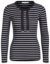 Oui Metallic Fibre Stripe Jumper, Dark Blue/Grey