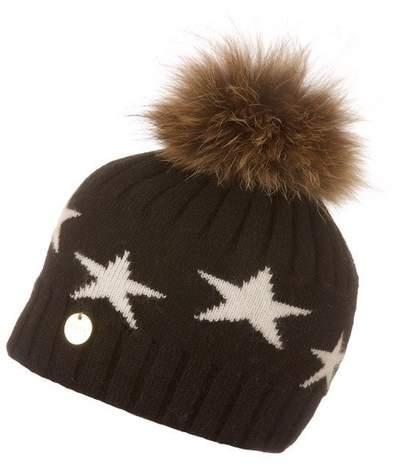 e56a63200 Popski London Faux Fur Angora Pom Pom Hat With Stars - Black